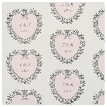 Pink Victorian Heart Personalized Wedding Fabric