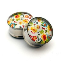 Vintage Floral Design Picture Plugs gauges - 00g, 1/2, 9/16, 5/8, 3/4, 7/8, 1 inch STYLE 2