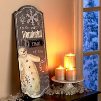 Snowman Wall Christmas Holiday Decor Hanging Plaque Sign Wood Winter Theme NEW