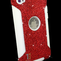 Custom Glitter Case Otterbox for iPod Touch 4G Red/White