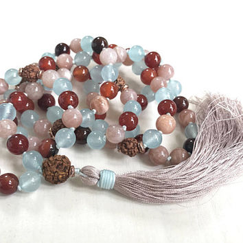 Sunstone Mala Beads, Rudraksha Mala Necklace, Dream Agate and Jade Hand Knotted Mala, 108 Bead Mala Necklace, Silk Tassel Japa Mala, 108