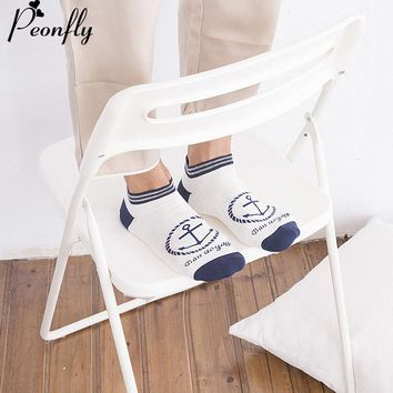 Spring And Autumn Man sock slippers New Pattern Concise Boat Anchor Socks Lily White Bar Male Navy Wind Cotton Motion socks