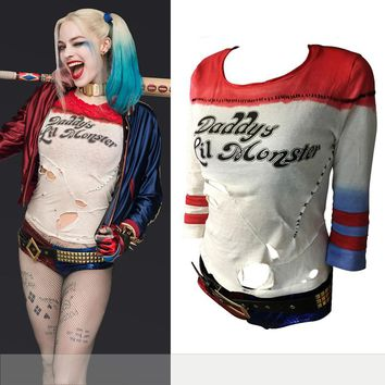 2016 New O-Neck Harley Quinn Daddy's Lil Monster T Shirt 2016 Harley Quinn Cosplay Costume Women Tee Suicide Squad T-Shirt