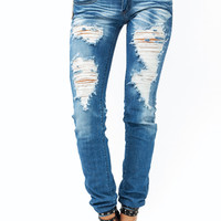 The-Destroyer-Skinny-Jeans BLUE - GoJane.com