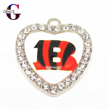Crystal Glass Heart Cincinnati Bengals Sport Hanging Dangle Charms Fit DIY Women Men Bracelet Necklace Pendant Earrings Jewelry