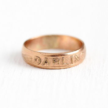 Antique Darling Ring - 14k Rose Gold Filled Baby Midi Signet - Size 1 Edwardian 1910s Cute Word Repousse Text Petite Rare Jewelry Band
