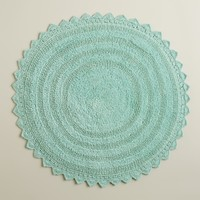 Harbor Blue Round Bath Mat - World Market