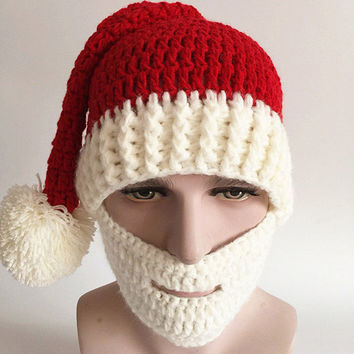 2016 Funny Novelty Handmade Winter Mens Christmas Santa Claus Knit Hats With Moustache Masks For Christmas Party Gifts