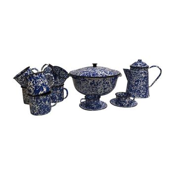 Pre-owned Blue & White Speckled Enamelware