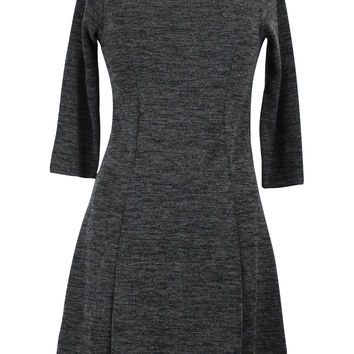 3/4-Sleeve Sweater Knit Swing Dress - Charcoal Gray