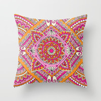 Pink & Tangerine Diamond Mandala Throw Pillow by Sarah Oelerich