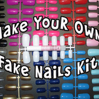 Make your Own Fake Nails Kit - Blank Nails - Base Coat Painting available - FREE Gift