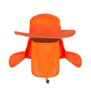 Unisex Summer Sun Hat Wide Brim Boonie Outddor Sport Hat Bucket Fishing Hat Cap with Removable Neck and Face Flap for Men Women