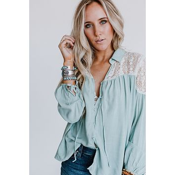 Asteria Lace Collared Tunic Blouse - Mint