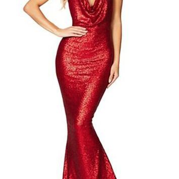 Red Daring Bare Back Sequined Long Party Gown
