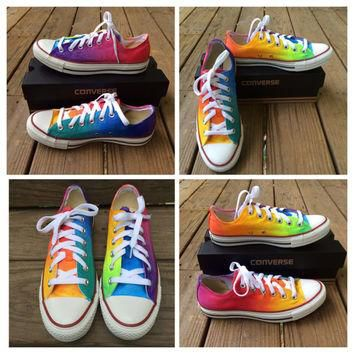 Custom Hand Painted Rainbow LOW TOP Converse Tie Dye Toms Rainbow Toms Tie Dye Ombre L