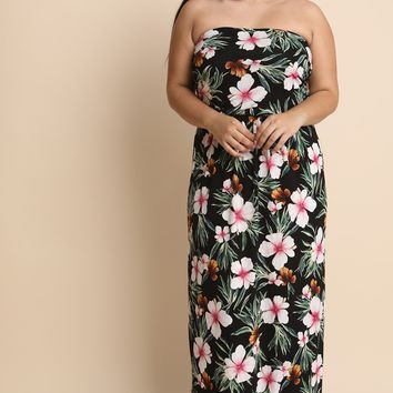 MY MALL METRO  Floral Print Strapless Tube Dress  Check Homepage for Promo Codes! <