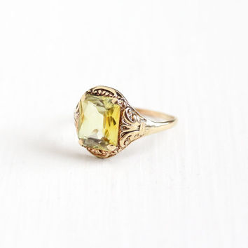 Vintage 10k Rose Gold Created Yellow Sapphire Ring - Art Deco 1930s Filigree Size 8 Bright Lab Created Stone Statement Fine Jewelry