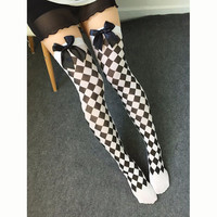 Sexy Women Cosplay Striped Knee stockings Japanese Printed Thigh High stockings Halloween Party Women Knee Pantyhose Skeleton