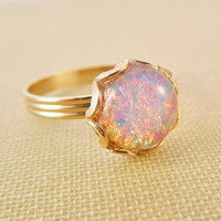 Vintage Fire Opal Ring .Vintage Harlequin by HangingByAThreadKids