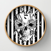 Limbo, Skull with poppy eyes Wall Clock by Kristy Patterson Design