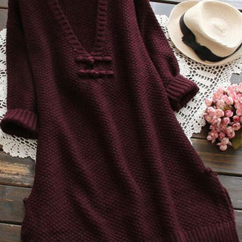 Cupshe Woman's Place Plunging Long Sweater