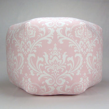 "24"" Floor Ottoman Pouf Pillow Bella Pink & White - Damask Contemporary Modern Print"