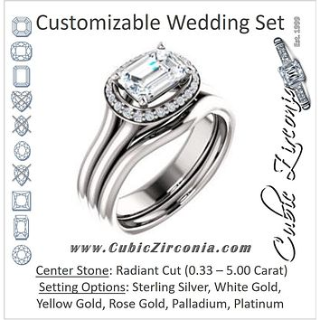 CZ Wedding Set, featuring The Elaine Li engagement ring (Customizable Radiant Cut Style with Halo, Wide Split Band and Euro Shank)