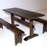 Trestle Table & Benches, Medieval Dollhouse Miniature 1/12 Scale, Hand Made in the USA