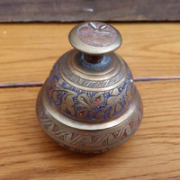 Vintage Etched Brass Bell Great Little Bohemian Indian Piece
