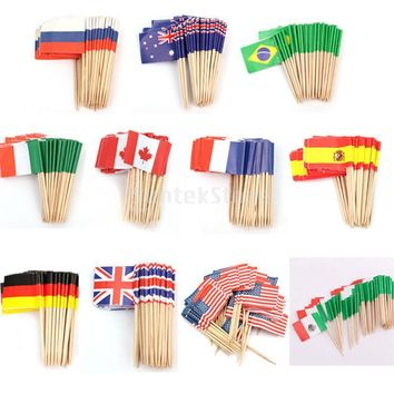 50x Canada Germany Britain France Sweden Country Flag Picks Paper Toothpick Food Cupcake Cocktail Decor