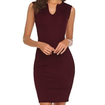 Naggoo Women's Business Wear To Work Sleeveless V Neck Bodycon Pencil Dress, Wine Red, 8/10