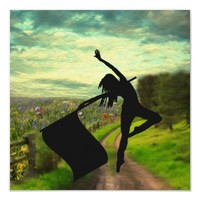 Colorguard Dancer Leaping with Flag Posters from Zazzle.com