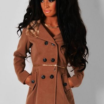 Yogi Brown Zip Detail Faux Fur Hood Coat | Pink Boutique