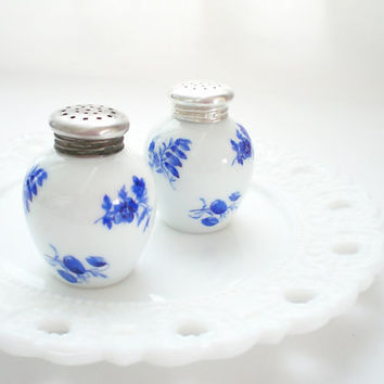 Vintage China Salt and Pepper Shakers, Silver Caps, Cobalt Blue Flowers White Ceramic Shaker Set, Thomas Rosenthal Germany
