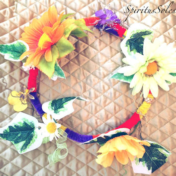 "Flower Crown ""Whimsical"", Flower Headpiece, Colorful Flower Crown, Frida Kahlo, Unique Flower Crown, Hippie, Headpiece"