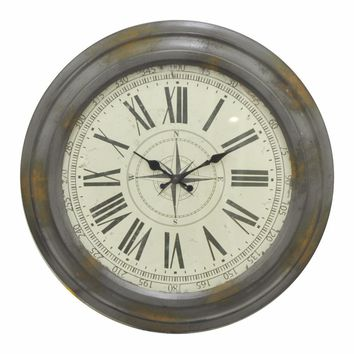 44231 Antiqued Metal Wall Clock - Benzara