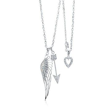 Silvertone Cupid Arrow W/ Crystal Heart Angel Wing Pendant Necklace #n902