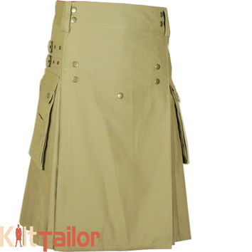 Khaki Utility Modern Work Kilt For Men's Custom Made