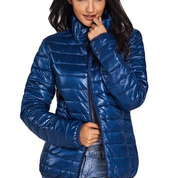 Chicloth Blue High Neck Quilted Cotton Jacket