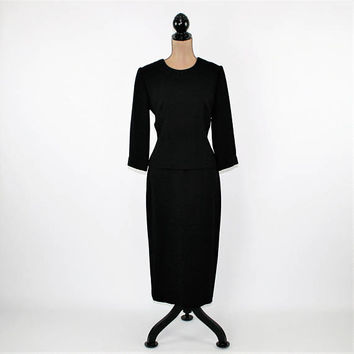 Size 6 Womens Black Dress Small Medium 90s Cocktail Dress 3/4 Sleeve Minimalist Evening Dress Donna Morgan Vintage Clothing Womens Clothing