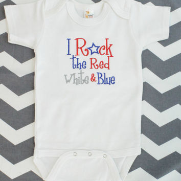 Baby Girls or Boys 4th of July Onesuit - Patriotic - Baby Shower Gift - Summer - Red White and Blue - Fourth - Independence Day
