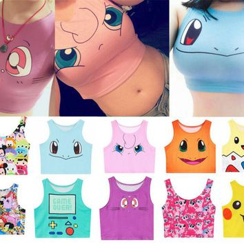 Harajuku, Cosplay,  Pokemon, Go Pocket, Monster Sailor, Moon Crystal Tank Tops Shirt