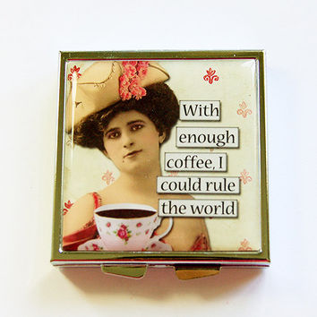 Square Pill case, Pill Case, Pill Box, Funny pill case, Funny pill box, Humor, coffee lover, rule the world, retro, pill container (4366)