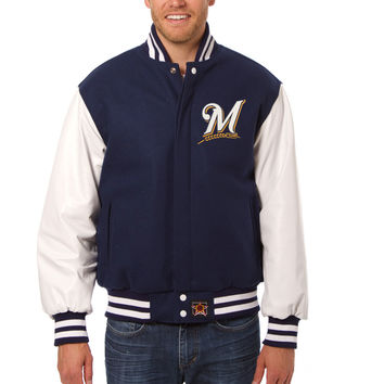 Milwaukee Brewers Wool And Leather Varsity Jacket