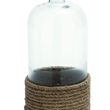 Homely Glass Bottle Flower Vase with Coiled Rope