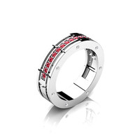 Caravaggio Mens 14K White Gold Ruby Diamond Wedding Band G1001M-14KWGDR
