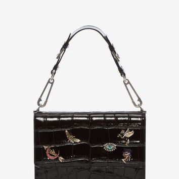 Jeweled Obsession Charms Safety Pin Bag | Alexander McQueen