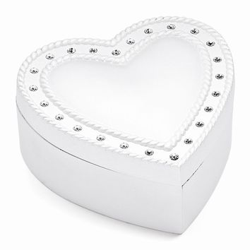 Silver-plated Crystal Heart Jewelry Box - Engravable Personalized Gift Item