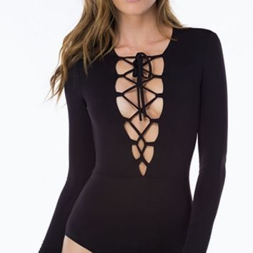 All Tied Up Black Long Sleeve Plunge V Neck Lace Up Bodysuit